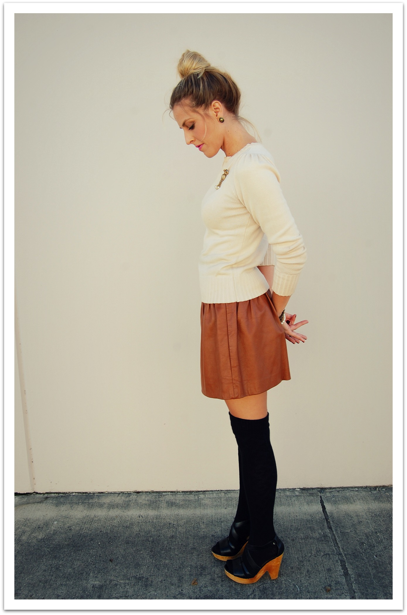 finding the leather mini skirt