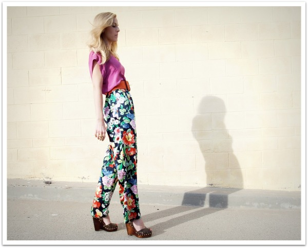 """Pajama Dressing, Spring Style, Floral Pants, Wooden Wedges, Michael Kors, Crossroads Trading Co."""