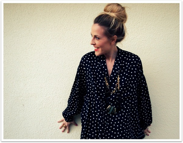 """Personal Style, Palazzo Pants, Polka Dots, Statement Necklace, Top Knot Bun"""