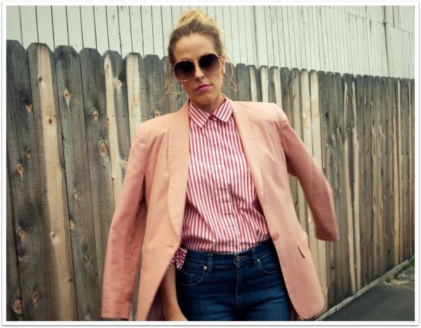 """Pink shirt, Pink Blazer, High Waist Jeans, 70's style"""