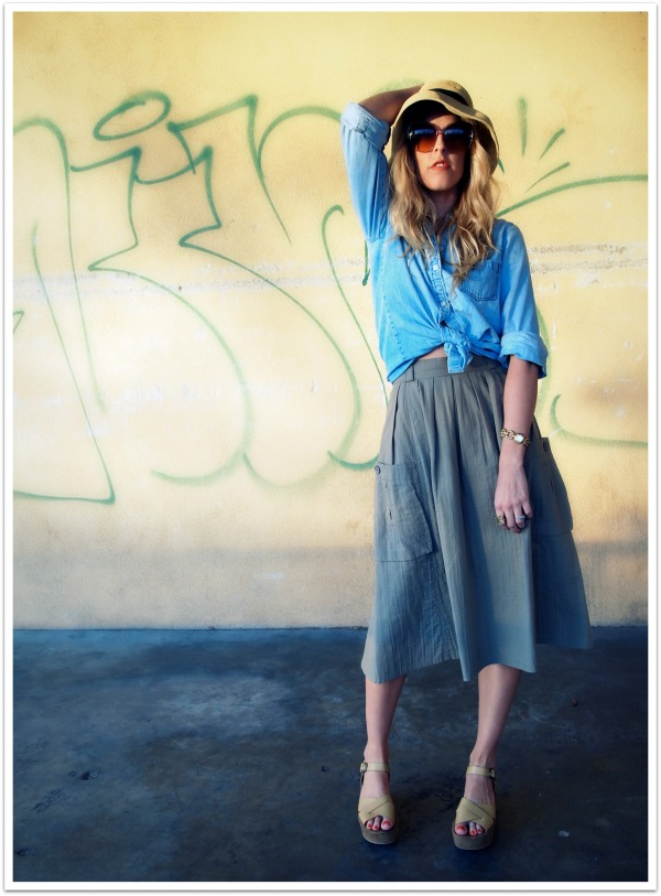 """Spring Fashion Trends, Flatforms, Straw Hat, Denim Shirt, Full Skirt"""