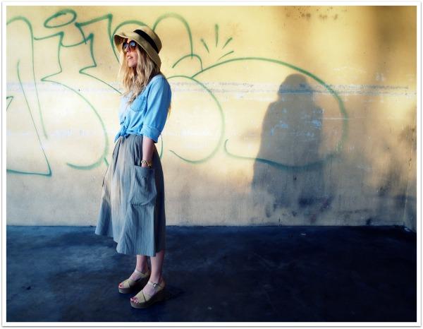 """Spring Fashion Trends, Flatforms, Straw Hat, Denim Shirt, Full Skirt"""