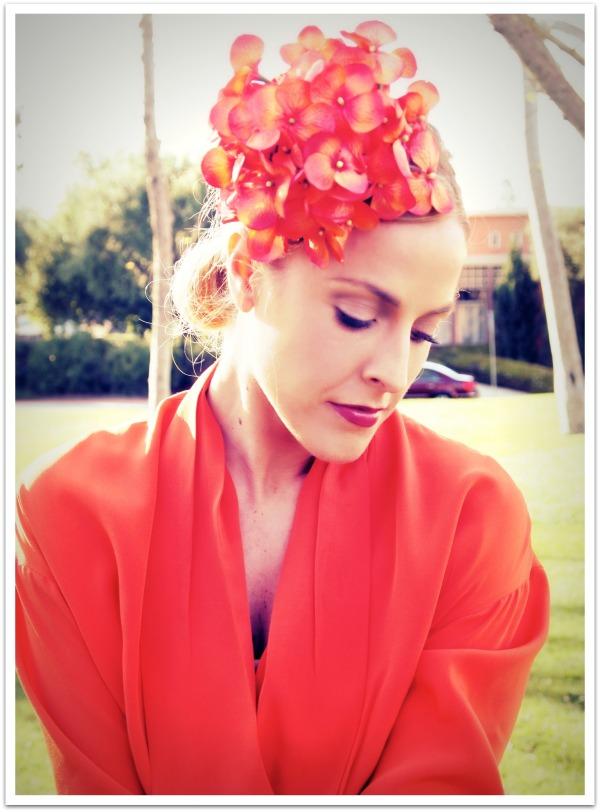 """Floral Hat, Pom Pom, Orange, Spring Trends, Personal Style'"