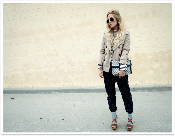 """St. James Sailor Shirt, Trench Jacket, Printed Pants, Aviator Sunglasses, Spring Style, Spring Trends"""