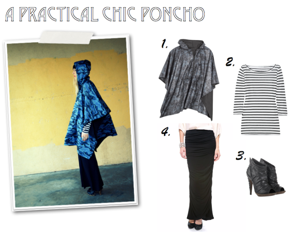 """Kenneth Cole, Poncho, Maxi Skirt, Striped Tee, Booties, Forever 21"""