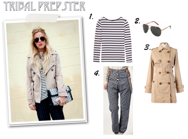 """Sailor Stripe, Trench, Print Pants, ASOS, Shop Ruche, St. James, Aviators, Spring Style"""