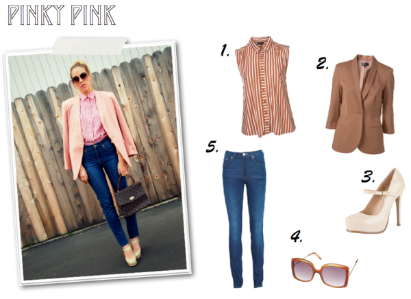 """Shopping List, Pink on Pink, High Waist Jean, Top Shop, Pink Blouse, Pink Blazer, Nude Mary Janes, Steve Madden, Acne, Square Sunglasses"""