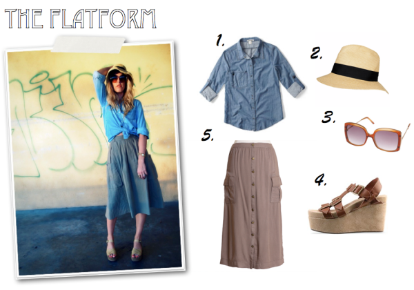 """Flatform shoes, Straw Hat, Cargo Skirt, Denim Shirt, Topshop, Ruche, Quiksilver Women, Jeffrey Campbell"""