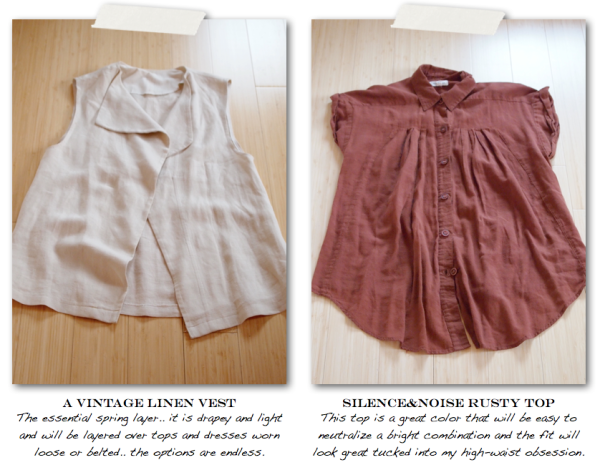 """Elswhere Vintage, Vintage, Linen Vest, Silence and Noise, Rust colored shirt, Spring trends, spring wardrobe"""