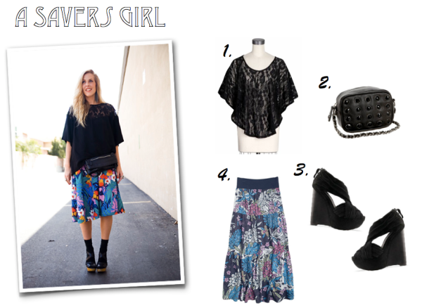"""Delias, BCBG Bag, Piperlime Top, Endless.com, Joes Shoes, Solestruck.com, Floral Skirt, Wooden Platform, Spring Style"""