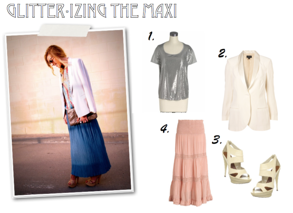 """Piperlime, Delias, Topshop, Endless.com, Cream Blazer, Sequins, Maxi Skirt, Spring Trends"""