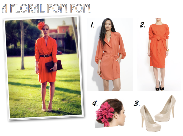 """Orange Dress, Orange Spring Trend, DVF, Mango, Nordstrom, Flower Hair Pin, Nude Pumps, Aldo"""
