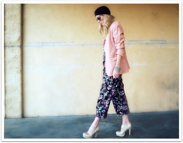 """Personal Style, Turban, Spring Trends, Floral Pants, Pink Palette, Wkshp tee, pink blazer"""
