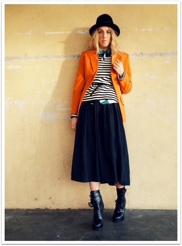 """Eclectic Style, Mix Prints, Orange, Jeffrey Campbell Boots, Vintage Style, Personal Style Blog, Quiksilver Women"""